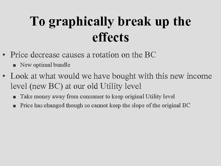 To graphically break up the effects • Price decrease causes a rotation on the