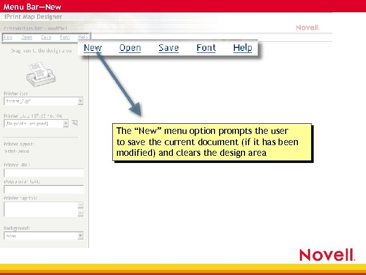 """Menu Bar—New The """"New"""" menu option prompts the user to save the current document"""