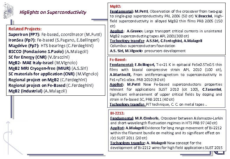 Higlights on Superconductivity Related Projects: Super. Iron (FP 7): Fe-based, coordinator (M. Putti) Iron.