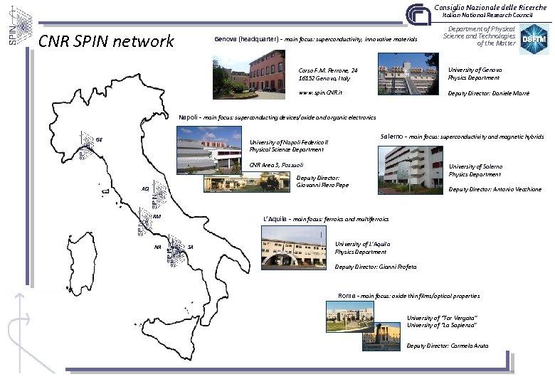Consiglio Nazionale delle Ricerche Italian National Research Council CNR SPIN network Genova (headquarter) -