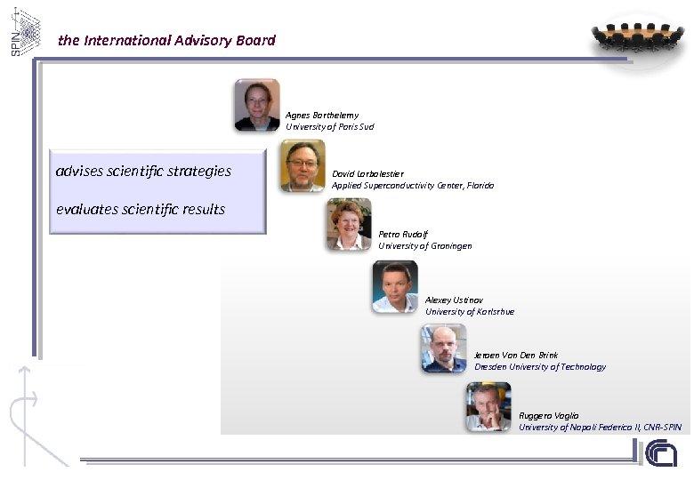 the International Advisory Board Agnes Barthelemy University of Paris Sud advises scientific strategies David