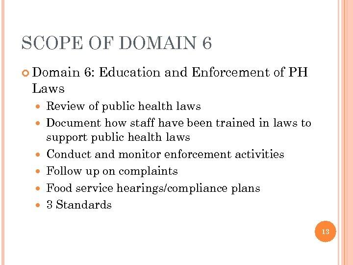 SCOPE OF DOMAIN 6 Domain Laws 6: Education and Enforcement of PH Review of