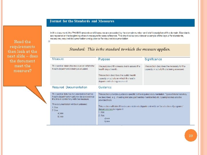 Read the requirements then look at the next slide – does the document meet