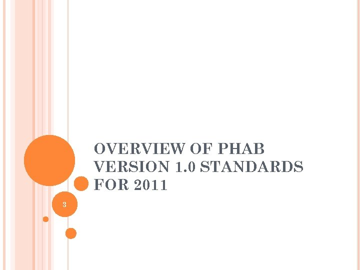 OVERVIEW OF PHAB VERSION 1. 0 STANDARDS FOR 2011 3