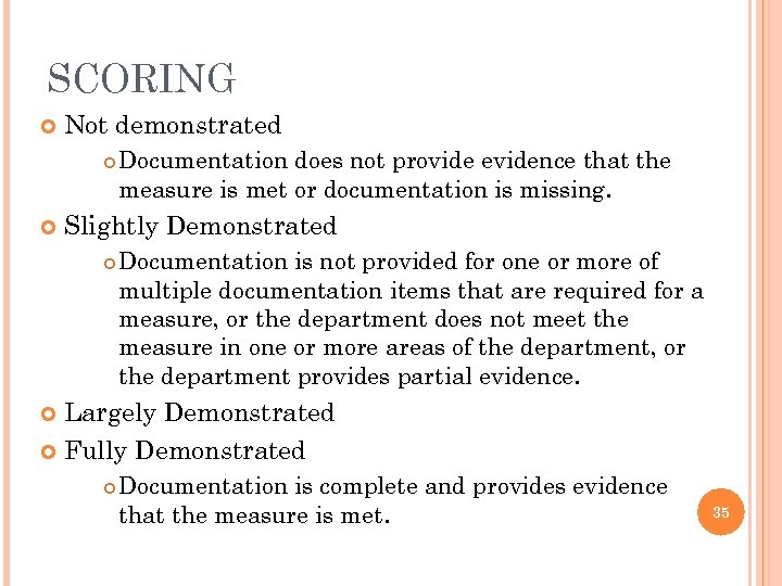 SCORING Not demonstrated Documentation does not provide evidence that the measure is met or
