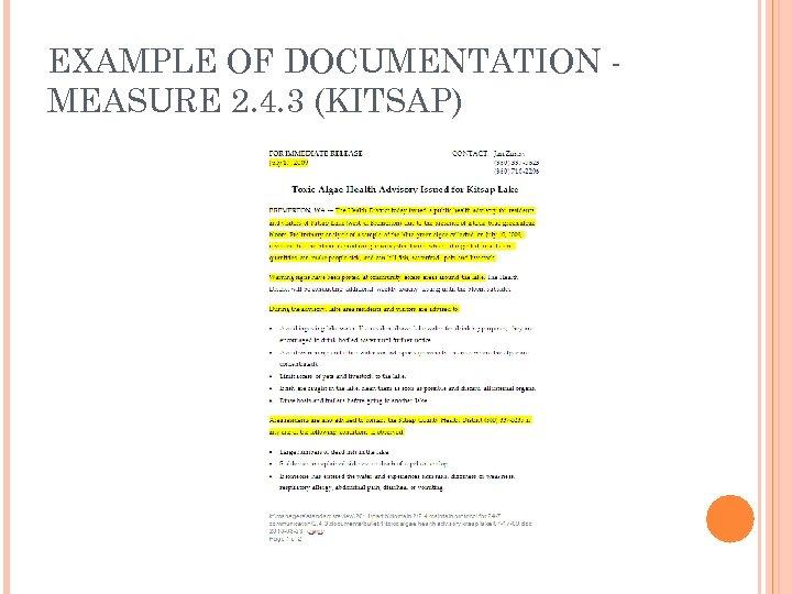 EXAMPLE OF DOCUMENTATION MEASURE 2. 4. 3 (KITSAP)