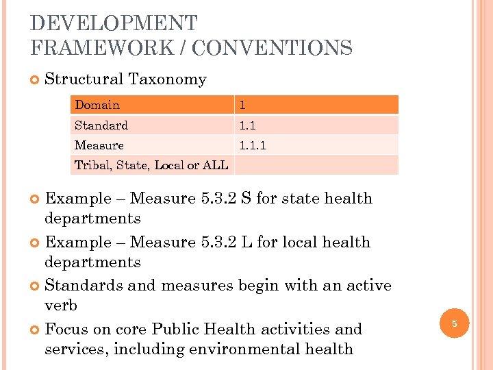 DEVELOPMENT FRAMEWORK / CONVENTIONS Structural Taxonomy Domain 1 Standard 1. 1 Measure 1. 1.