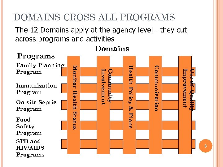 DOMAINS CROSS ALL PROGRAMS The 12 Domains apply at the agency level - they