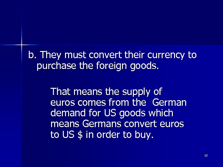 b. They must convert their currency to purchase the foreign goods. That means the