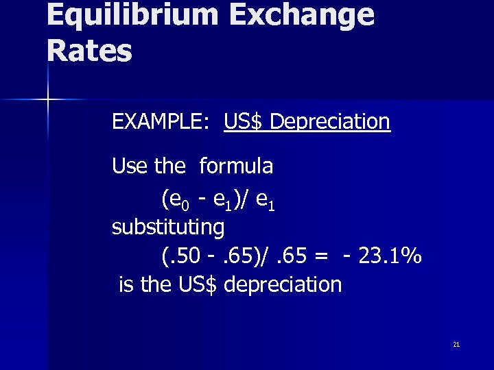 Equilibrium Exchange Rates EXAMPLE: US$ Depreciation Use the formula (e 0 - e 1)/