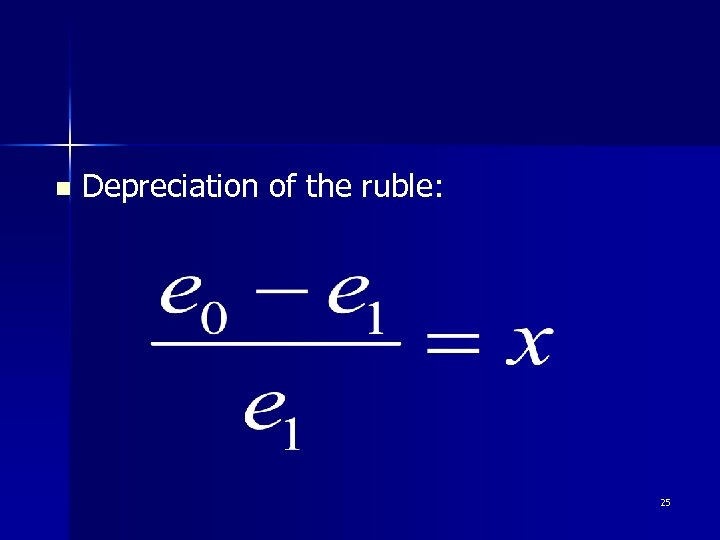 n Depreciation of the ruble: 25