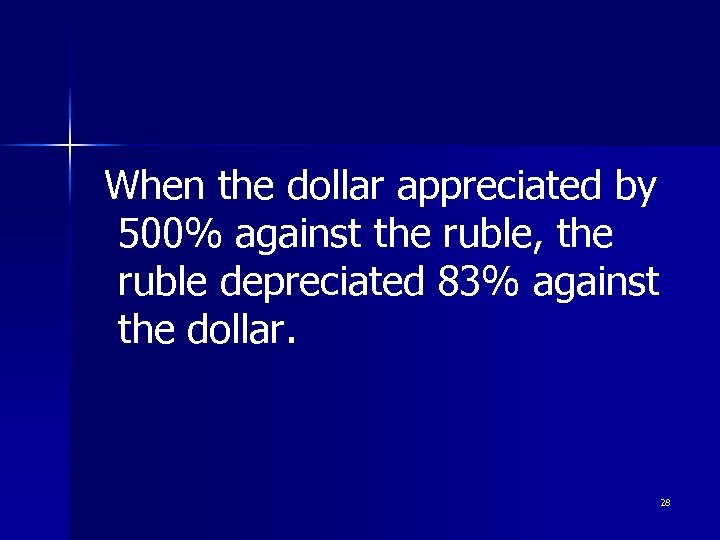 When the dollar appreciated by 500% against the ruble, the ruble depreciated 83% against