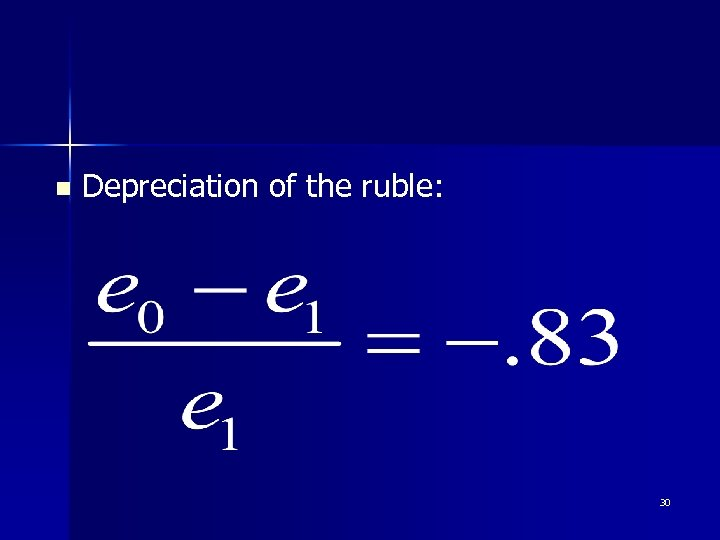 n Depreciation of the ruble: 30