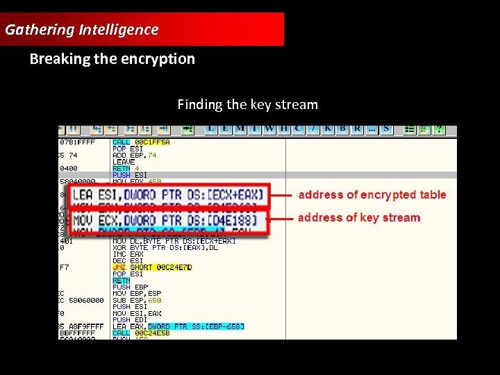 Gathering Intelligence Breaking the encryption Finding the key stream