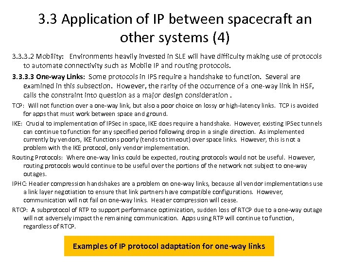 3. 3 Application of IP between spacecraft an other systems (4) 3. 3. 3.
