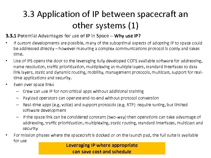 3. 3 Application of IP between spacecraft an other systems (1) 3. 3. 1
