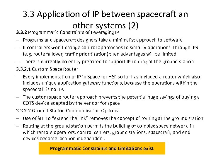 3. 3 Application of IP between spacecraft an other systems (2) 3. 3. 2