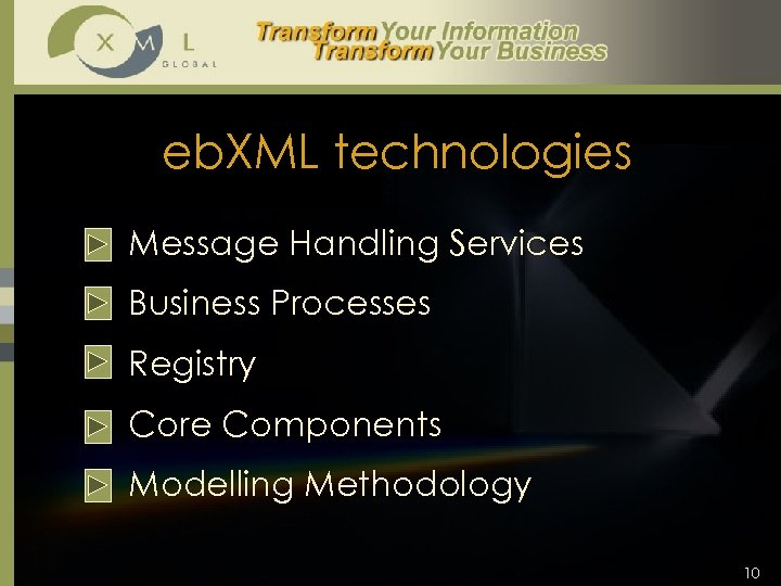 eb. XML technologies § Message Handling Services § Business Processes § Registry § Core