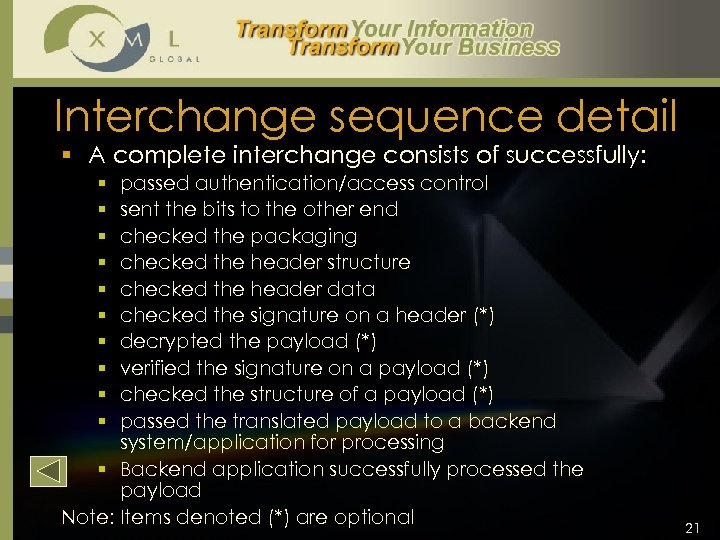 Interchange sequence detail § A complete interchange consists of successfully: passed authentication/access control sent