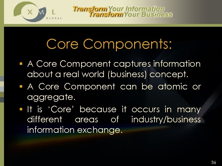 Core Components: § A Core Component captures information about a real world (business) concept.