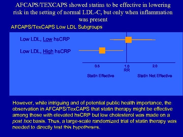 AFCAPS/TEXCAPS showed statins to be effective in lowering risk in the setting of normal