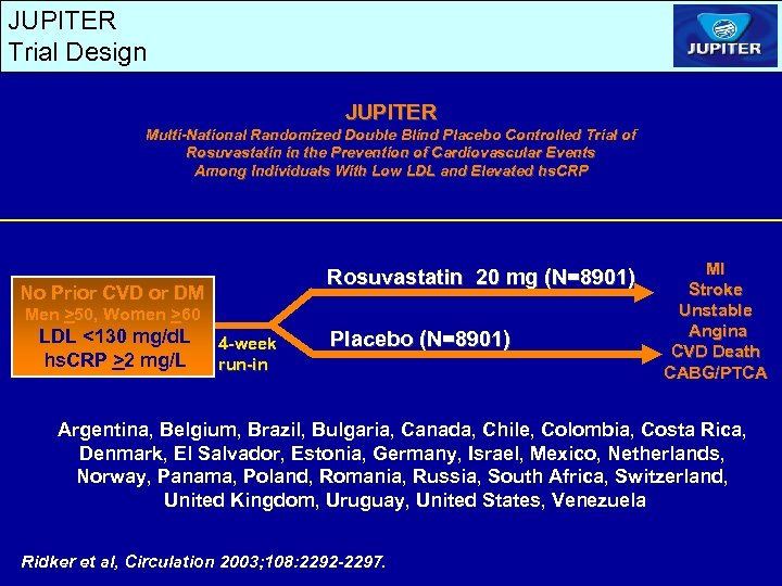 JUPITER Trial Design JUPITER Multi-National Randomized Double Blind Placebo Controlled Trial of Rosuvastatin in