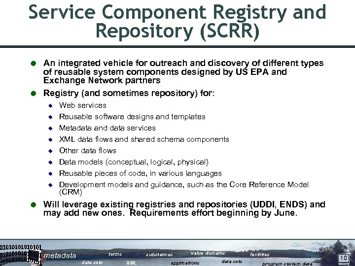 Service Component Registry and Repository (SCRR) An integrated vehicle for outreach and discovery of