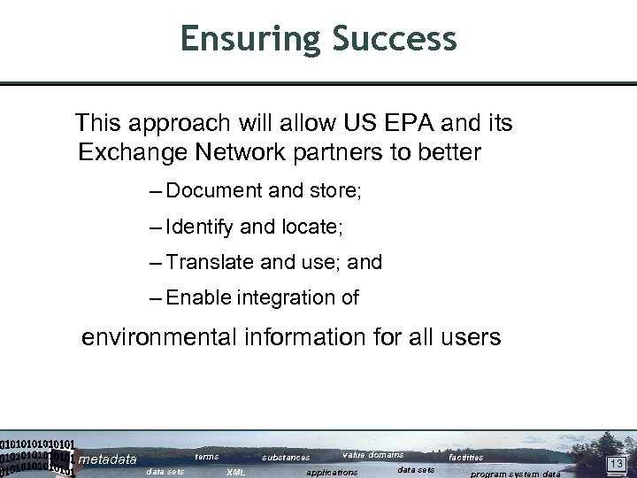 Ensuring Success This approach will allow US EPA and its Exchange Network partners to