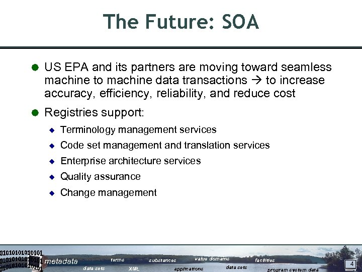 The Future: SOA Å US EPA and its partners are moving toward seamless machine