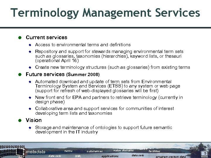 Terminology Management Services Å Current services ¿ ¿ ¿ Å Future services (Summer 2008)
