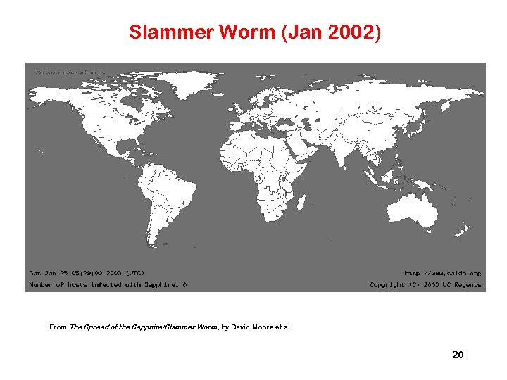 Slammer Worm (Jan 2002) From The Spread of the Sapphire/Slammer Worm , by David