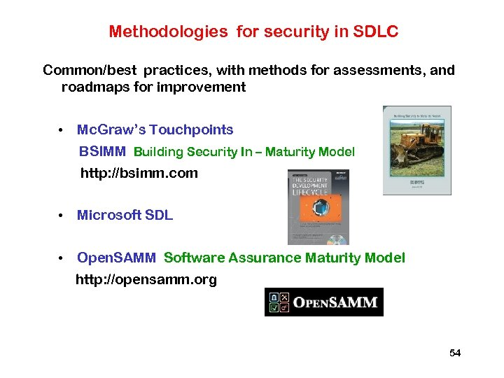Methodologies for security in SDLC Common/best practices, with methods for assessments, and roadmaps for