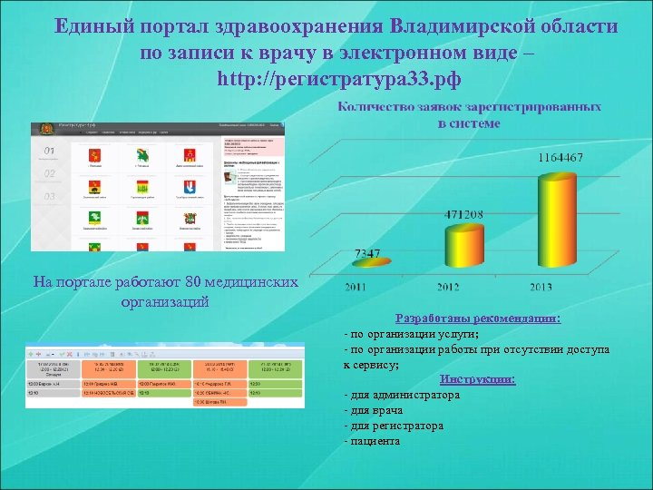 Единый портал здравоохранения Владимирской области по записи к врачу в электронном виде – http: