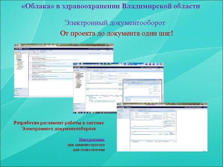 «Облака» в здравоохранении Владимирской области Электронный документооборот От проекта до документа один шаг!