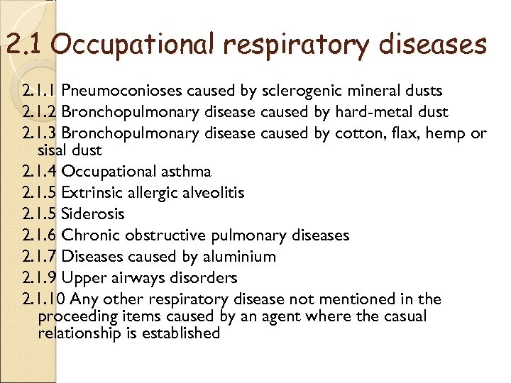2. 1 Occupational respiratory diseases 2. 1. 1 Pneumoconioses caused by sclerogenic mineral dusts