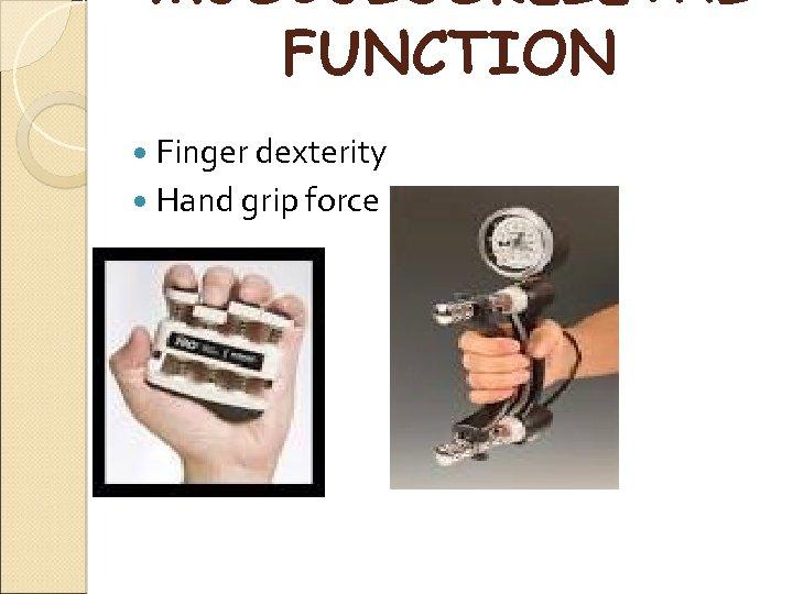 MUSCULOSKELETAL FUNCTION Finger dexterity Hand grip force