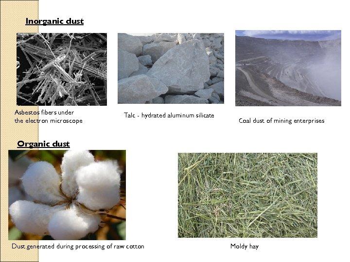 Inorganic dust Asbestos fibers under the electron microscope Talc - hydrated aluminum silicate Сoal
