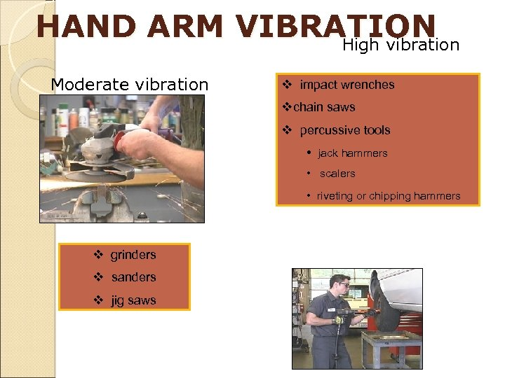 HAND ARM VIBRATION High vibration Moderate vibration v impact wrenches vchain saws 93 v
