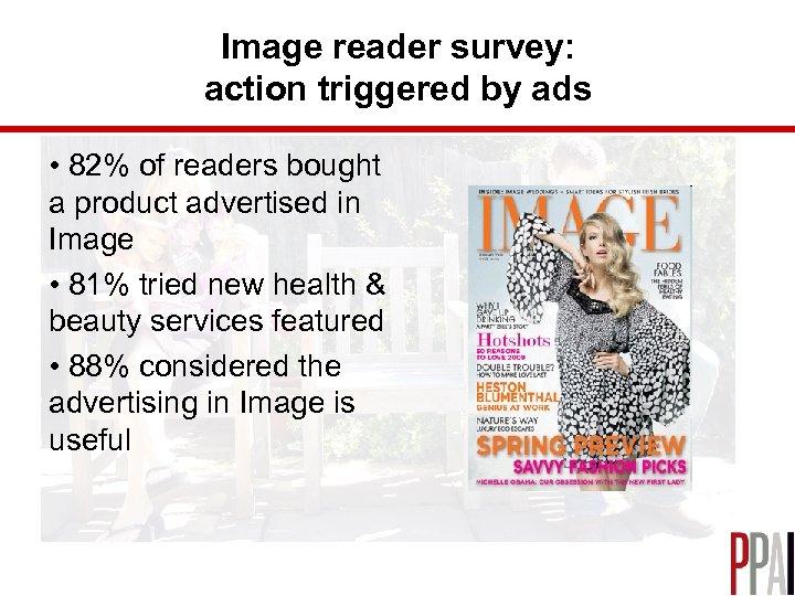 Image reader survey: action triggered by ads • 82% of readers bought a product