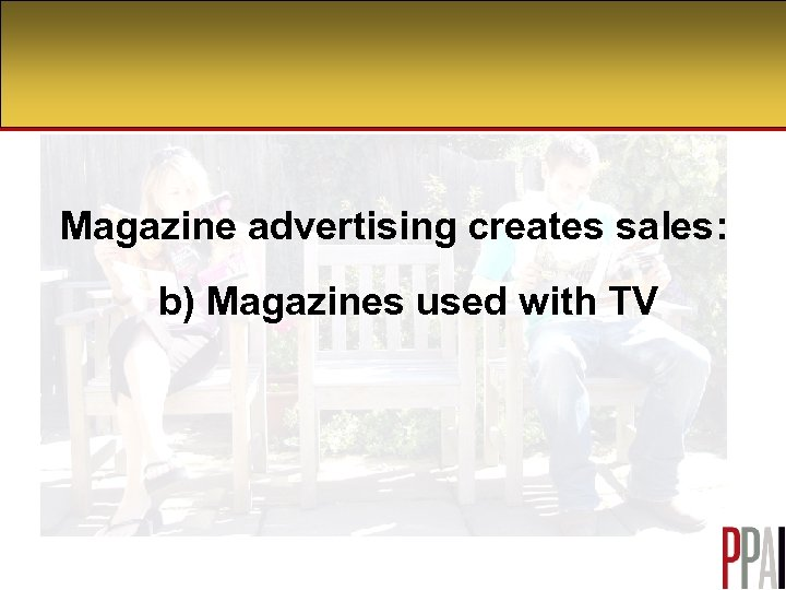 Magazine advertising creates sales: b) Magazines used with TV