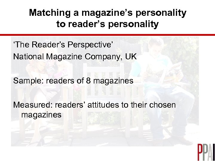 Matching a magazine's personality to reader's personality 'The Reader's Perspective' National Magazine Company, UK