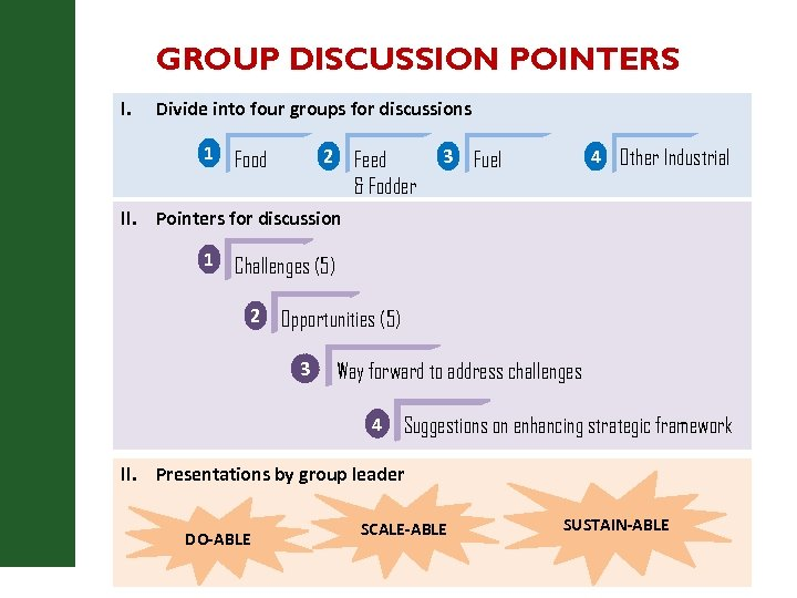 GROUP DISCUSSION POINTERS I. Divide into four groups for discussions 1 2 Food Feed