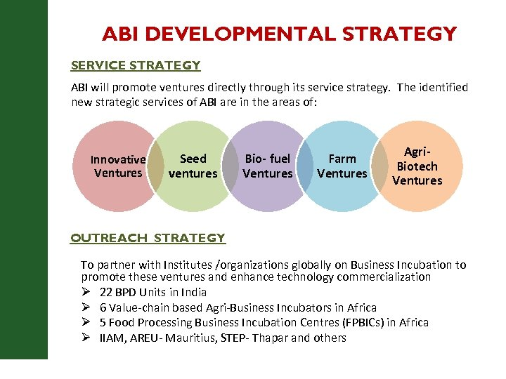 ABI DEVELOPMENTAL STRATEGY SERVICE STRATEGY ABI will promote ventures directly through its service strategy.
