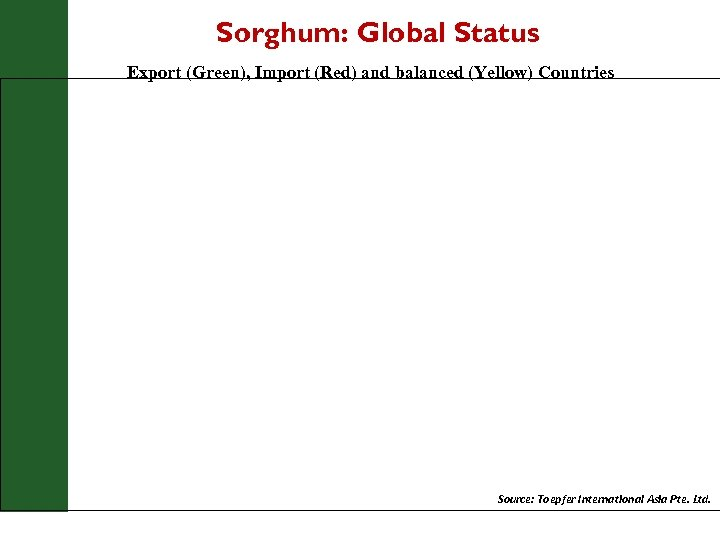 Sorghum: Global Status Export (Green), Import (Red) and balanced (Yellow) Countries Source: Toepfer International