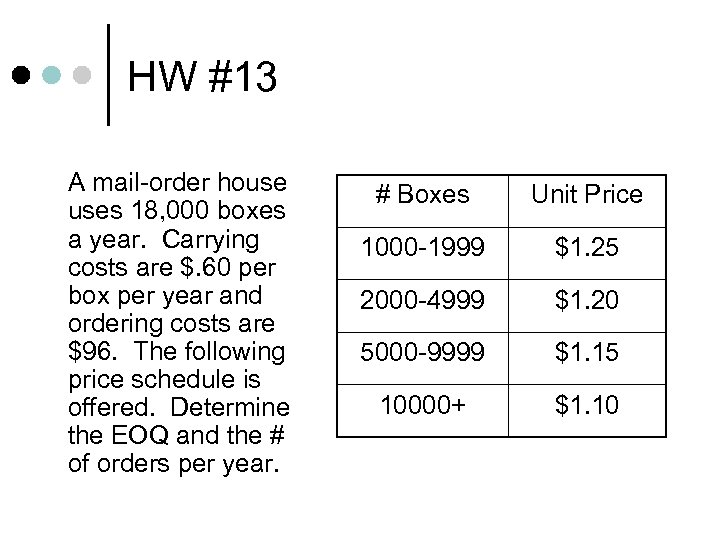 HW #13 A mail-order house uses 18, 000 boxes a year. Carrying costs are