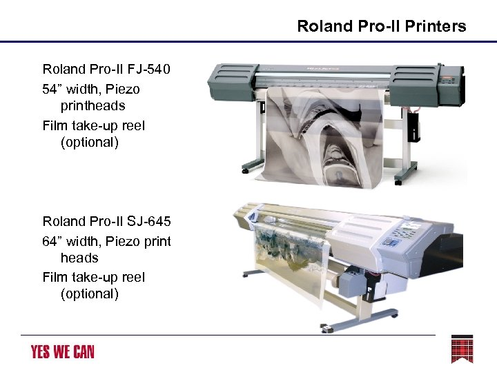 "Roland Pro-II Printers Roland Pro-II FJ-540 54"" width, Piezo printheads Film take-up reel (optional)"