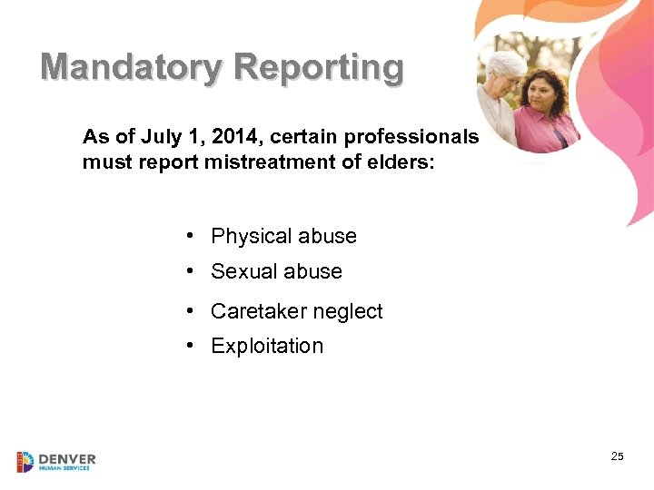 Mandatory Reporting As of July 1, 2014, certain professionals must report mistreatment of elders: