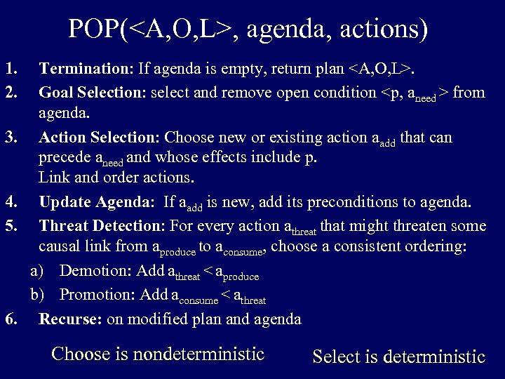 POP(<A, O, L>, agenda, actions) 1. 2. 3. 4. 5. 6. Termination: If agenda