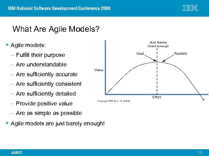 What Are Agile Models? § Agile models: – Fulfill their purpose – Are understandable