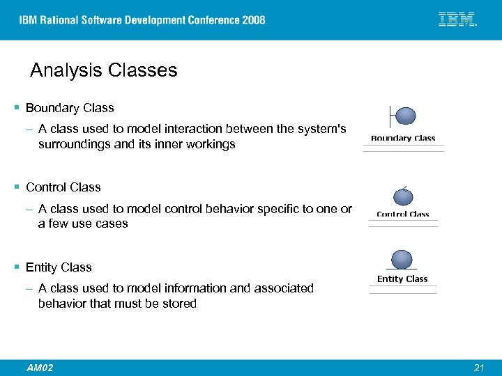 Analysis Classes § Boundary Class – A class used to model interaction between the